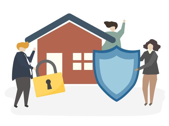 Ilustración de un seguro de casa