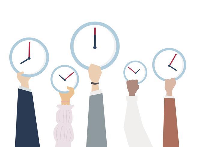 Abbildung der Hände mit Zeitmanagement