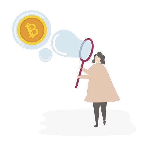 mulher ilustrada com moeda