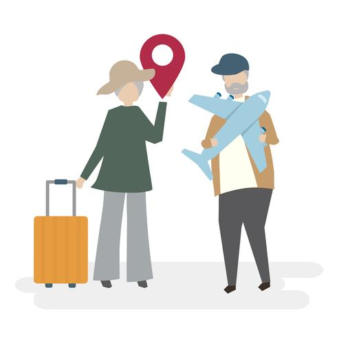 Ilustración de personajes de pareja senior con concepto de viaje