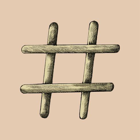 Hand gezeichnete Hashtagabbildung