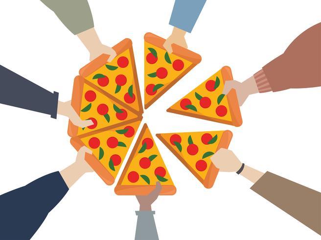 Illustration av händer som delar en pizza