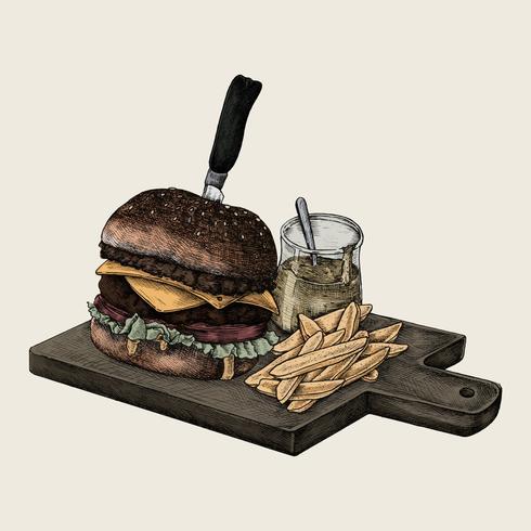 Illustration of a big cheeseburger