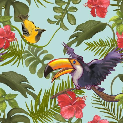Tropical floral pattered background