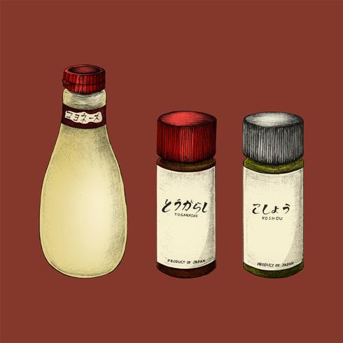 Ilustração, de, japoneses, ingredientes