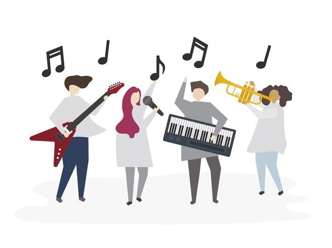 Geïllustreerde vrienden die samen muziek spelen