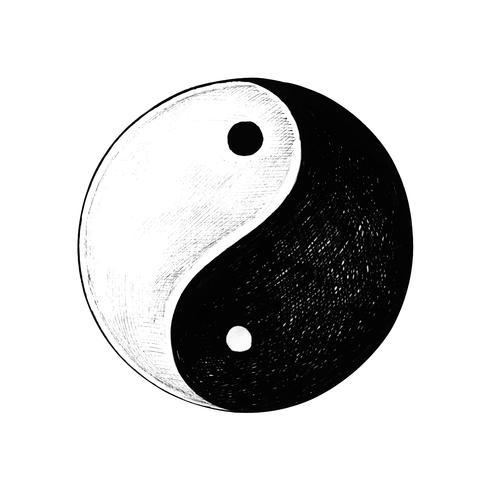 Hand gezeichnetes Yin und Yang
