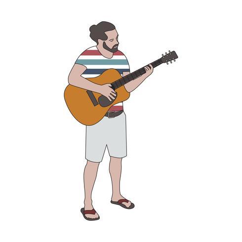Illutrerad skäggig man som spelar gitarr