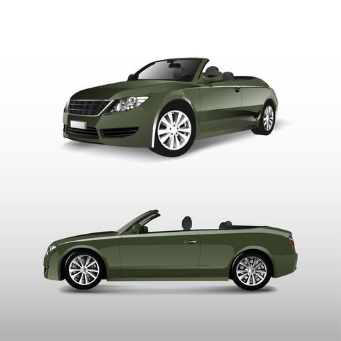 Groene convertibele auto die op witte vector wordt geïsoleerd