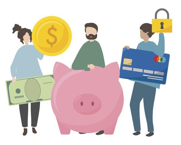 Illustration de personnages avec finance sécurisée