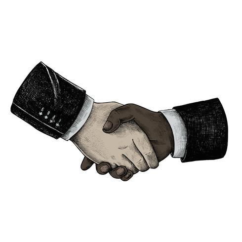 Apretón de manos de negocios internacionales dibujados a mano