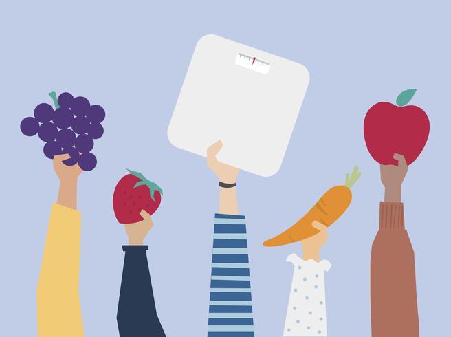 Manos sosteniendo elementos de estilo de vida saludable ilustración