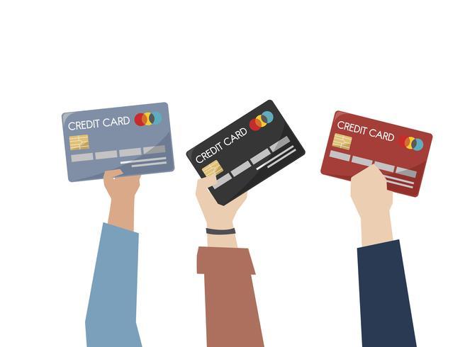 Illustration de mains tenant des cartes de crédit