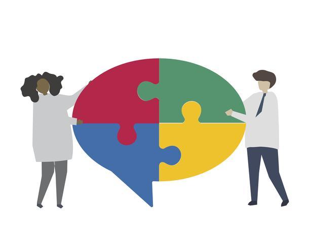 Travail d'équipe reliant le morceau de puzzle de bulle de dialogue