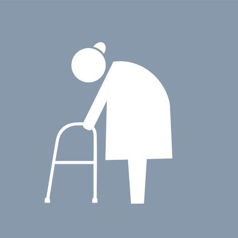Personnes âgées avec pictogramme icône marcheur