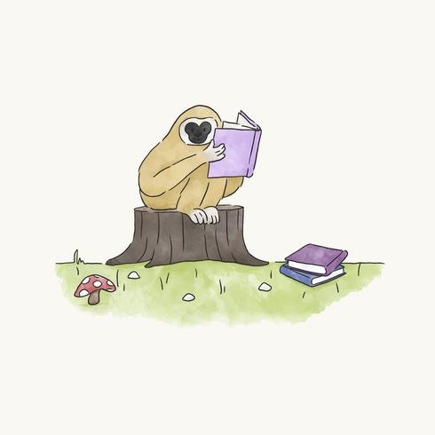 Singe lisant un livre