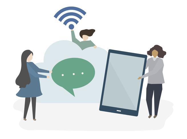 Illustration de personnes avec la technologie