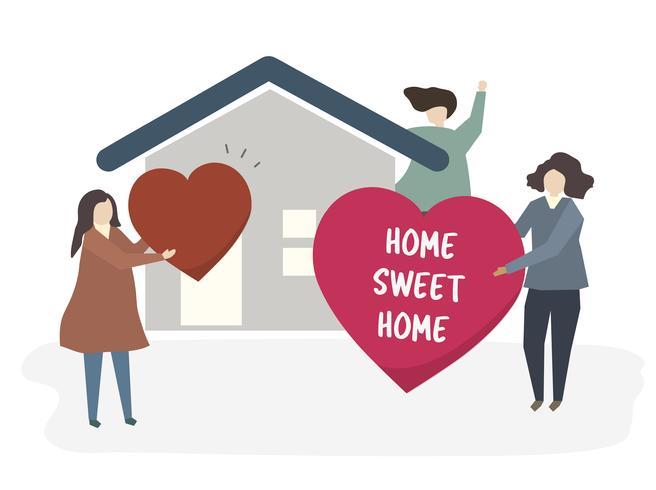 Illustrazione di una famiglia felice a casa