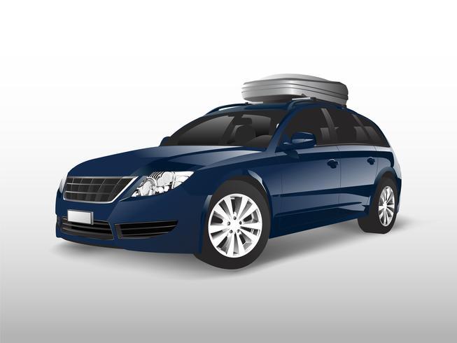 Blauwe SUV met een opbergdoos op het dak