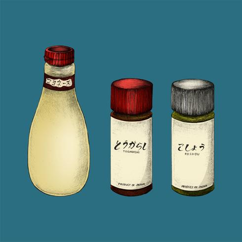 Illustration av japanska ingredienser