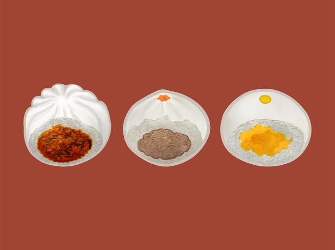 Ilustración de tres bollos al vapor chinos