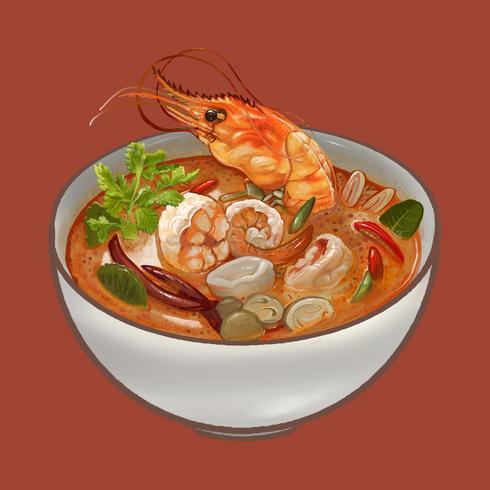 Tom Yum Kung sopa ilustración