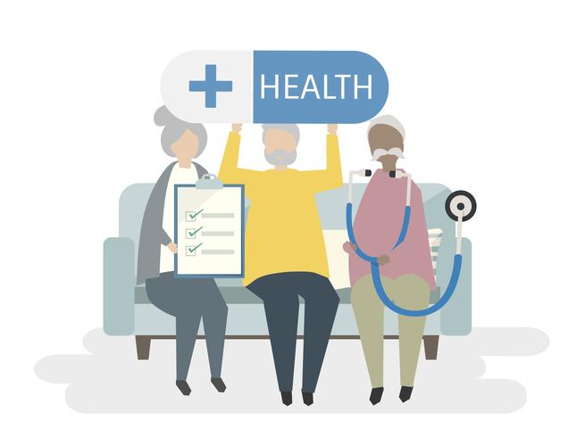 Illustration av seniorer med livförsäkring