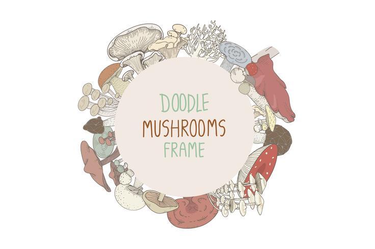 Cadre rond champignon doodle coloré vecteur