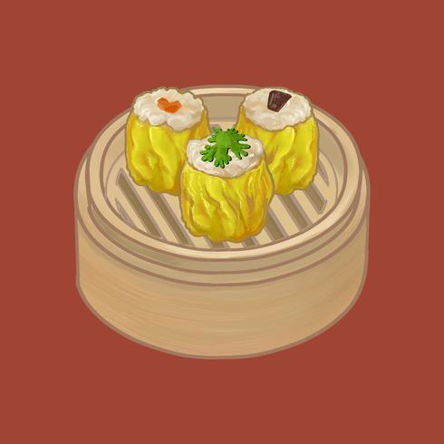Empanadillas chinas en una ilustración de vapor de bambú