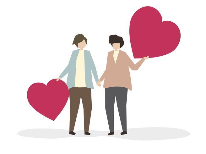 Romantiskt par i kärlek illustration