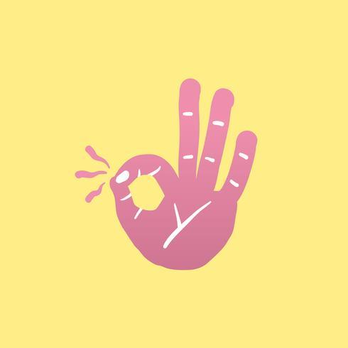 Ilustración de icono de gesto de mano Ok