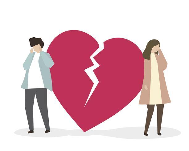 Couple avec illustration de cœur brisé