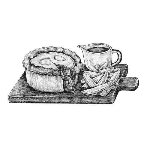 Pastel de carne picada dibujado a mano
