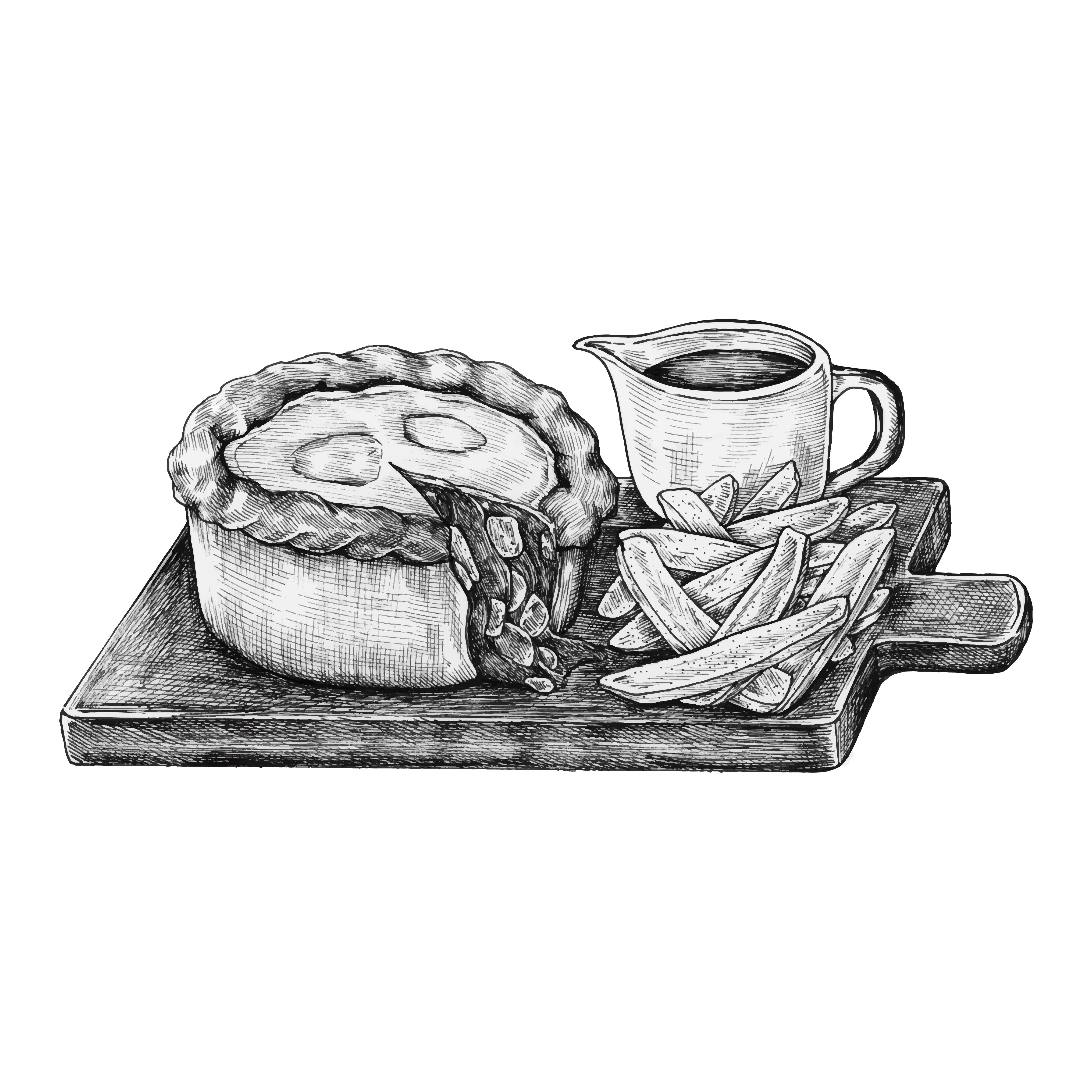 Hand-drawn minced beef pie - Download Free Vector Art ...