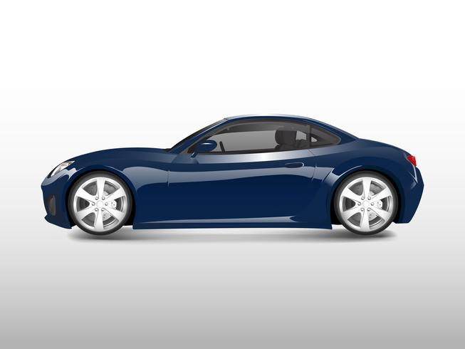 Blå sportbil isolerad på vit vektor