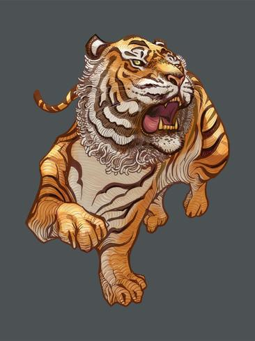 Ilustración dibujada a mano de tigre japonés rugiente