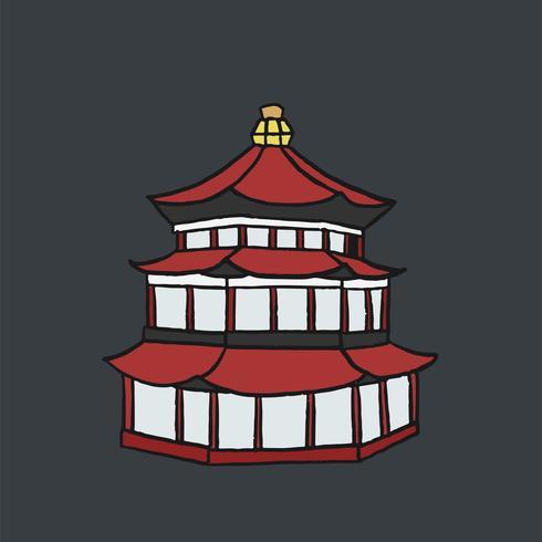 Dibujado a mano ilustración de pagoda china