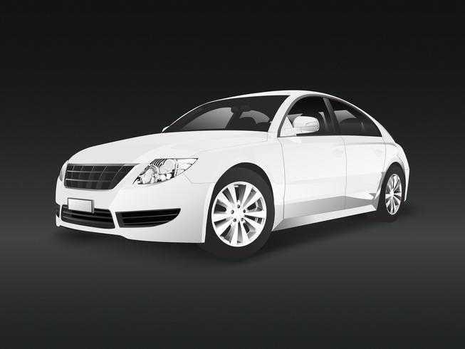 White sedan car in a black background vector