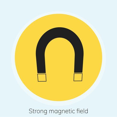 Ilustração, de, forte, magnético, campo, sinal aviso