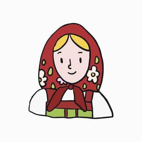 Donna russa tradizionale che indossa una sciarpa