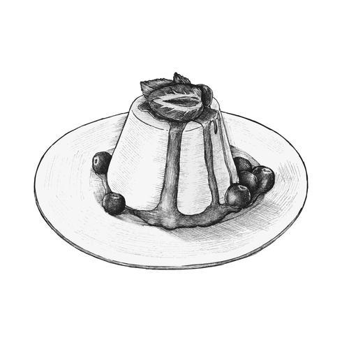 Pudín dibujado a mano un plato sabroso