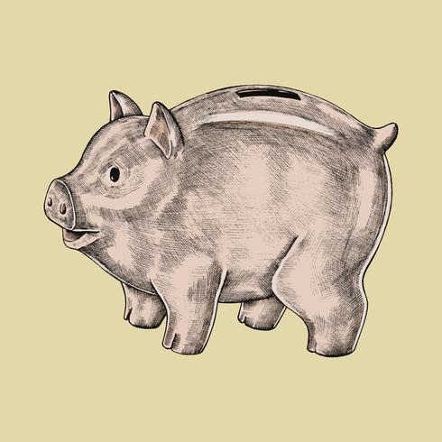 Handgetekende piggy bank illustratie