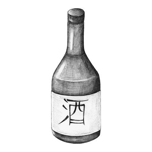 Vino de arroz japonés Osake dibujado a mano