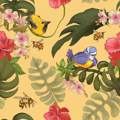Ilustración de aves en coloridos árboles forestales