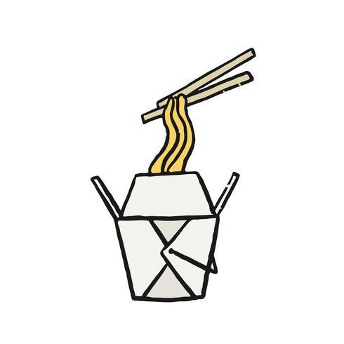 Chow mein, illustrazione cinese delle tagliatelle in padella