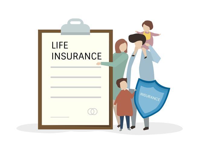 Illustartion of people with life insurance