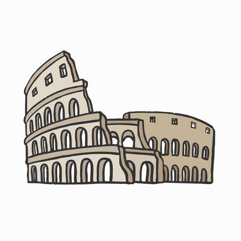 Ilustración romana antigua del gráfico del Coliseo