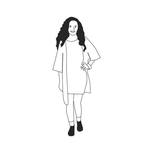 Illsutrated junge Frau, die alleine steht