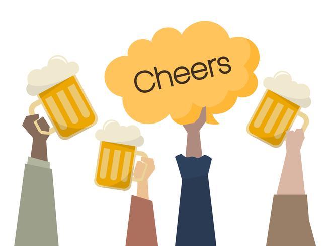 Illustration of people having beers