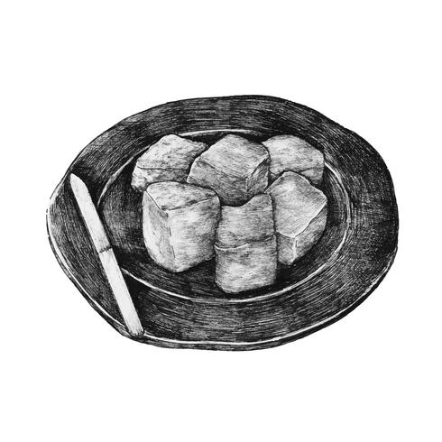 Dibujado a mano mochi pastel de arroz japonés